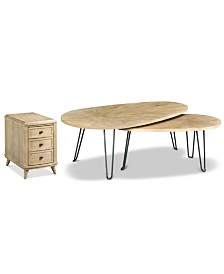 Piper Table Collection, 2-Pc. Set (Bunching Table & Charging Chairside Table)