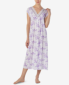 Eileen West Printed Knit Ballet-Length Nightgown