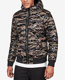 G-Star RAW Men's Quilted Hooded Camo Jacket
