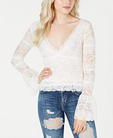 GUESS Jordan Lace Bell-Sleeve Top