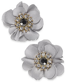 "I.N.C. Medium Gold-Tone Crystal & Stone Fabric Flower Stud Earrings, 1.25"", Created for Macy's"