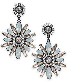 I.N.C. Black-Tone Flower Drop Earrings, Created for Macy's