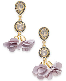 I.N.C. Gold-Tone Crystal Petal Double Drop Earrings, Created for Macy's