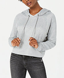 Gypsies & Moondust Juniors' Pearl-Embellished Hooded Sweatshirt