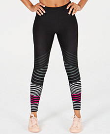 Calvin Klein Performance Striped High-Waist Ankle Leggings