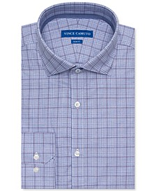 Men's Slim-Fit Comfort Stretch Grape Plaid Dress Shirt