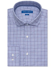 Vince Camuto Men's Slim-Fit Comfort Stretch Grape Plaid Dress Shirt