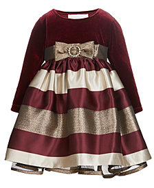Bonnie Baby Baby Girls Velvet Jacquard Dress