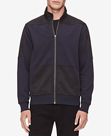 Calvin Klein Men's Mixed-Media Zip-Up Cardigan