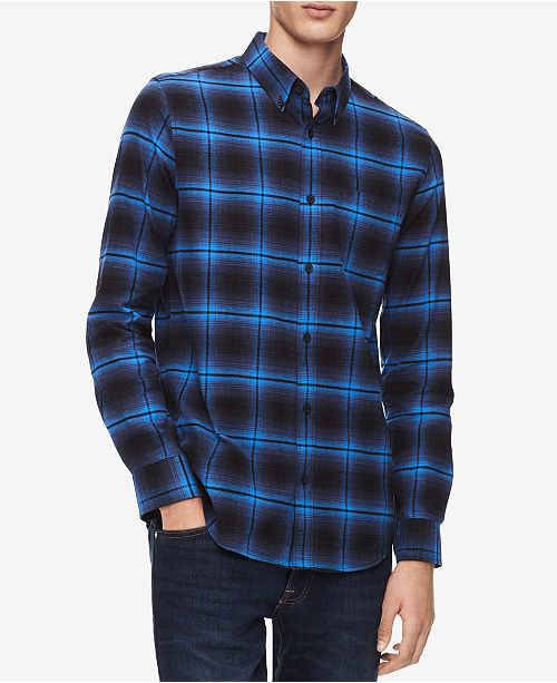 31ee1374493 Calvin Klein Men's Brushed Flannel Shirt & Reviews - Casual Button ...