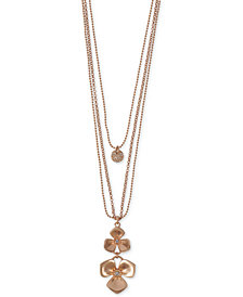 "Lucky Brand Rose Gold-Tone Crystal Flower Layered Statement Necklace, 26"" + 2"" extender"