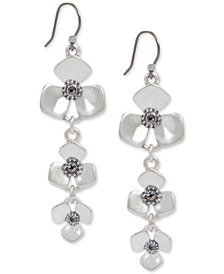 Lucky Brand Silver-Tone Crystal Flower Triple Drop Earrings