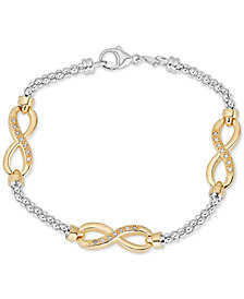 Diamond Infinity Bracelet (1/8 ct. t.w.) in  Sterling Silver & 14k Gold-Plate