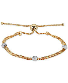 Diamond Beaded Bolo Bracelet (1/6 ct. t.w.) in  Sterling Silver & 14k Gold-Plate