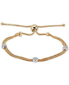 Diamond Beaded Bolo Bracelet (1/6 ct. t.w.) in  Sterling Silver & 14k Gold-Plate