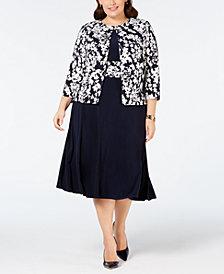 Jessica Howard Plus Size Printed Jacket & Printed-Waist Dress