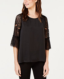 John Paul Richard Petite Lace-Bell-Sleeve Top