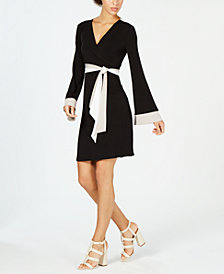 Calvin Klein Contrast Faux-Wrap Dress
