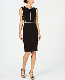 Calvin Klein Contrast Trim Sheath Dress