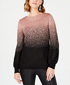 NY Collection Petite Ombré Metallic Sweater