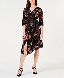 NY Collection Petite Floral-Print Velvet Asymmetrical Dress