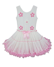 A Pink Petti Dress With Daisies Embroidered On The Top. Full And Soft Ruffled Skirt