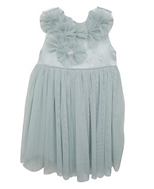 A Cute Dress With Soft Polyester Skirt Covered With A Mesh Overlay artfully Decorated With Flowers