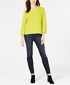 3/4-Sleeve Flared Sweater & Organic Cotton-Blend Pull-On Jeggings