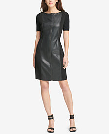 DKNY Mixed-Media Shift Dress, Created for Macy's