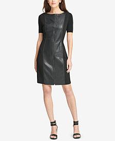 DKNY Mixed-Media Shift Dress, Created for Macy's