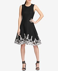 Sleeveless Embroidered Fit & Flare Dress, Created for Macy's