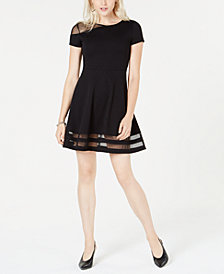 Bar III Mesh Fit & Flare Dress, Created for Macy's
