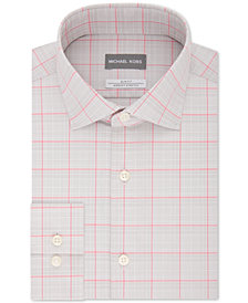 Michael Kors Men's Slim-Fit Non-Iron Airsoft Stretch Performance Pink & Gray Check Dress Shirt