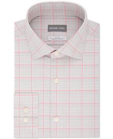 Michael Kors Men's Slim-Fit Non-Iron Airsoft Stretch Performance Pink & Gray Check Dress Shirt