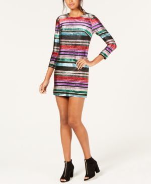 Occasion Jewel-Neck 3/4-Sleeve Metallic Party Striped Dress in Multi