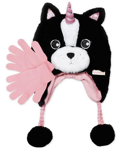 81874197106 FAB Little Girls 2-Pc. Faux-Fur Frenchie Trapper Hat   Gloves Set ...