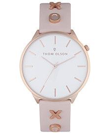 Thom Olson Women's Blush Leather Strap Watch 40mm