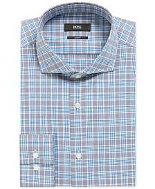 BOSS Men's Slim-Fit Vichy-Checked Cotton Shirt