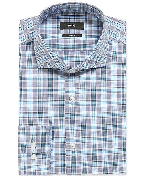 be8af273 Hugo Boss BOSS Men's Slim-Fit Vichy-Checked Cotton Shirt & Reviews ...
