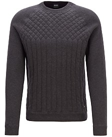 BOSS Men's Quilted Knit-Detail Sweater