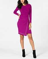 Thalia Sodi Studded Faux-Wrap Dress, Created for Macy's