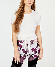 Material Girl Active Juniors' Tie-Front Cropped T-Shirt, Created for Macy's