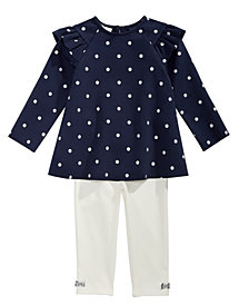 First Impressions Baby Girls 2-Pc. Dot-Print Tunic & Leggings Set, Created for Macy's