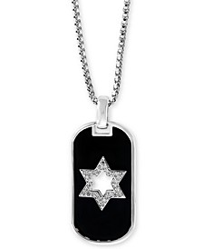 "EFFY® Men's Diamond Star of David 22"" Pendant Necklace (1/8 ct. t.w.) in Sterling Silver"