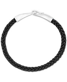 EFFY® Men's Black Leather Braided Bracelet in Sterling Silver