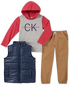 Calvin Klein 3-Pc. Baby Boys Vest, Hoodie & Pants Set