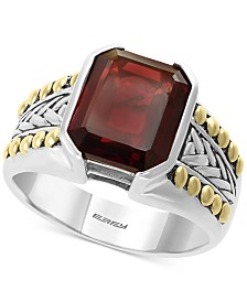 EFFY® Men's Rhodolite Garnet Ring (6-3/8 ct. t.w.) in Sterling Silver & 18k Gold