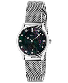 Gucci Women's Swiss G-Timeless Diamond-Accent Stainless Steel Mesh Bracelet Watch 29mm
