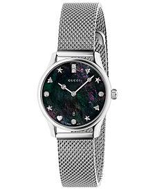 Gucci Women's Swiss G-Timeless Diamond-Accent Stainless Steel Mesh Bracelet Watch 29mm