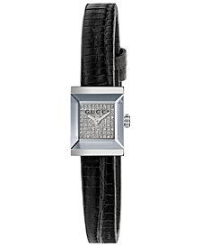Gucci Women's Swiss G-Frame Black Lizard Leather Strap Watch 14x18mm